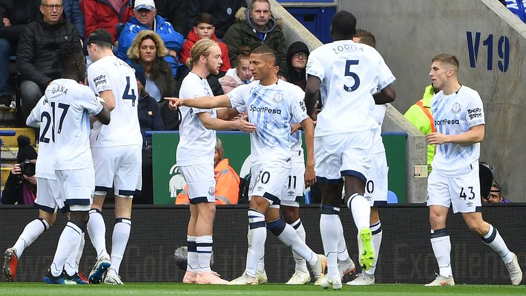 Richarlison celebrates putting Everton in front at Leicester
