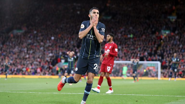 Mahrez reacts after his late missed penalty