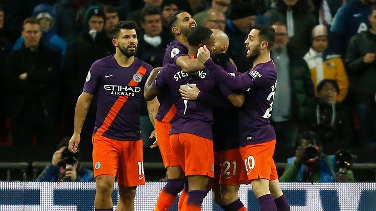 Riyad Mahrez scored early on for Manchester City at Wembley