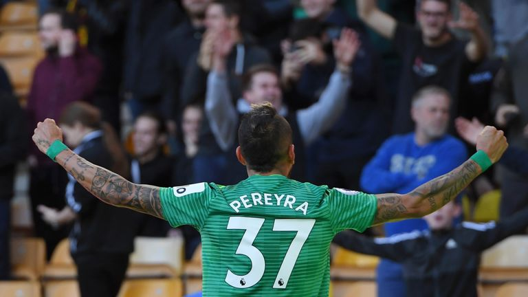 Roberto Pereyra celebrates after scoring Watford's second goal
