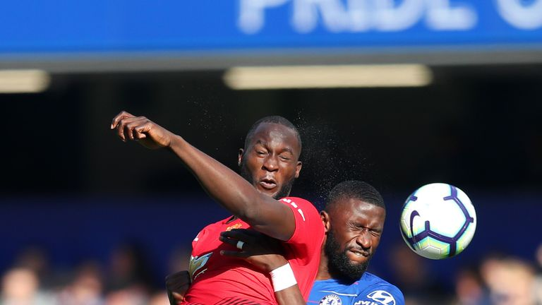 Romelu Luakau and Antonio Rudiger in action at Stamford Bridge