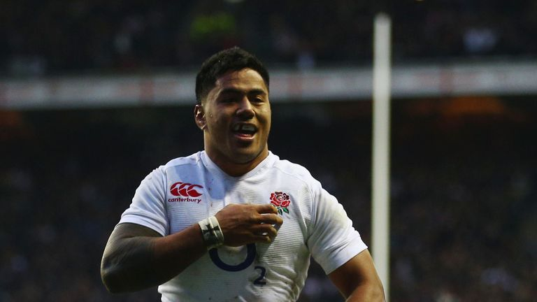 England's Manu Tuilagi scores against New Zealand during their clash at Twickenham in 2012