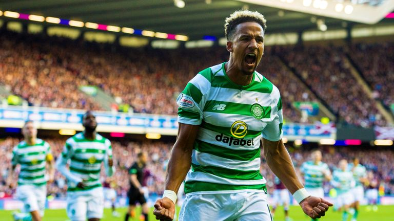 Scott Sinclair celebrates scoring from the spot in Celtic's Scottish League Cup semi-final against Hearts