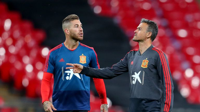 Real Madrid's Sergio Ramos has retained the captain's armband for Spain under Luis Enrique