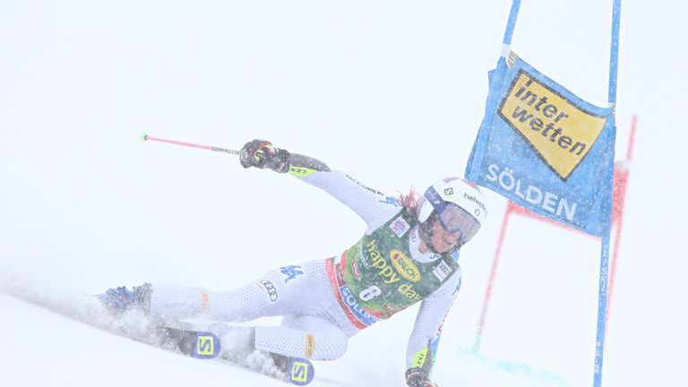 Marta Bassino of Italy competes at the Alpine Ski World Cup Women's Giant Slalom in Solden
