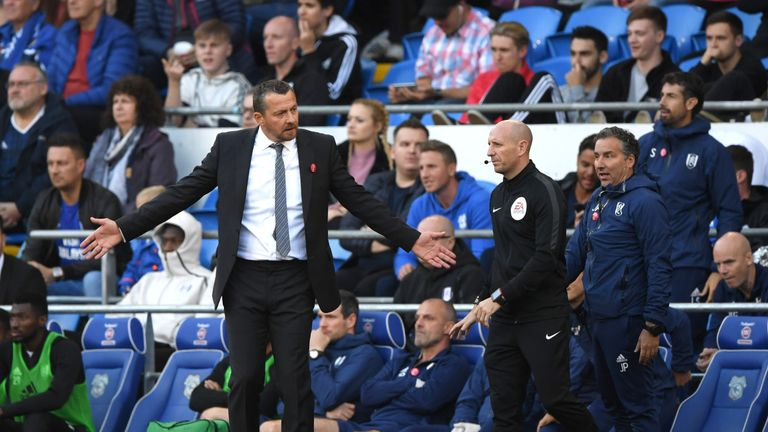 Slavisa Jokanovic, Manager of Fulham reacts during the Premier League match between Cardiff City and Fulham FC at Cardiff City Stadium on October 20, 2018 in Cardiff, United Kingdom.