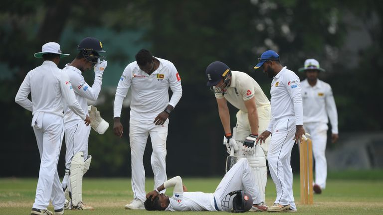 Sri Lanka fielder Pathum Nissanka had to be stretchered off after being hit on the helmet by a shot by Jos Buttler