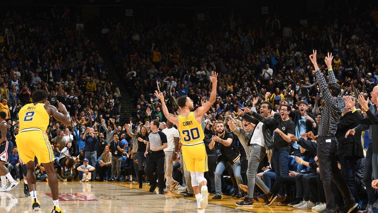 Stephen Curry #30 of the Golden State Warriors reacts to a play during the game against the Washington Wizards on October 24, 2018 at ORACLE Arena in Oakland, California.