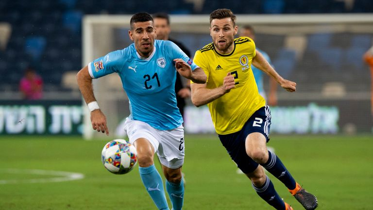 Scotland & Kilmarnock defender Stephen O'Donnell (right) chases down Israel's Eitan Tibi during the recent UEFA Nations League tie in Haifa
