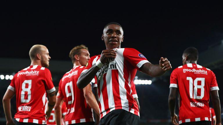 Steven Bergwijn celebrates scoring for PSV