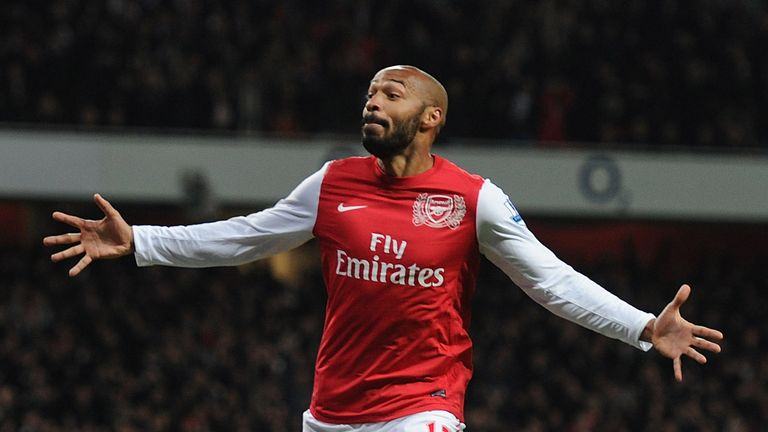 Thierry Henry celebrates scoring the Arsenal goal during the FA Cup Third Round match between Arsenal and Leeds United at Emirates Stadium on January 9, 2012