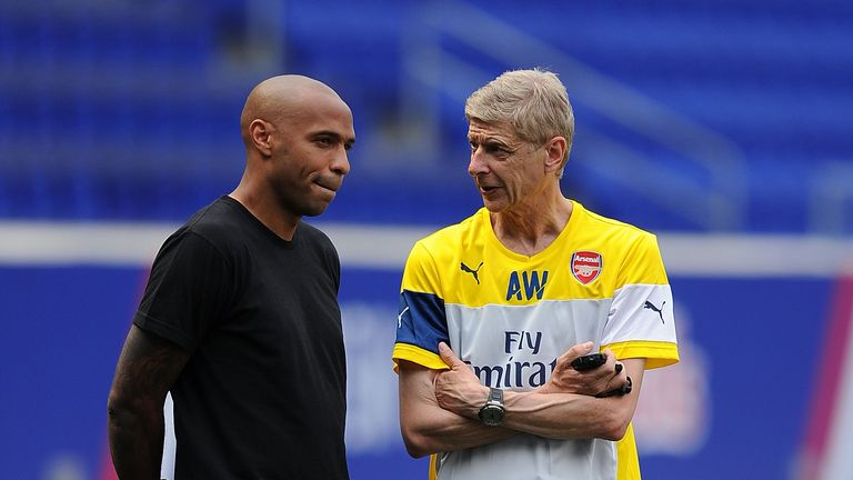 Thierry Henry and Arsene Wenger of Arsenal during a training session at Red Bull Arena on July 24, 2014 in Harrison, New Jersey. (Photo by Stuart MacFarlane/Arsenal FC via Getty Images)