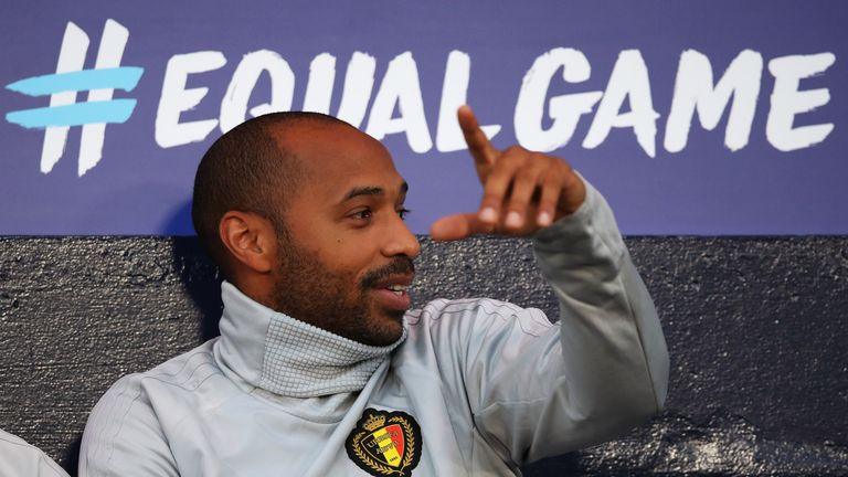 Thierry Henry during the International Friendly match between Scotland and Belgium at Hampden Park on September 7, 2018 in Glasgow, United Kingdom