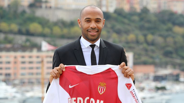 New Monaco head coach Thierry Henry poses during his presentation