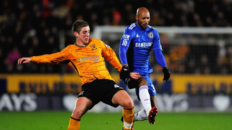 Tom Cairney and Nicolas Anelka during the Barclays Premier League match between Hull City and Chelsea at the KC Stadium on February 2, 2010 in Hull, England. (Photo by Jamie McDonald/Getty Images)