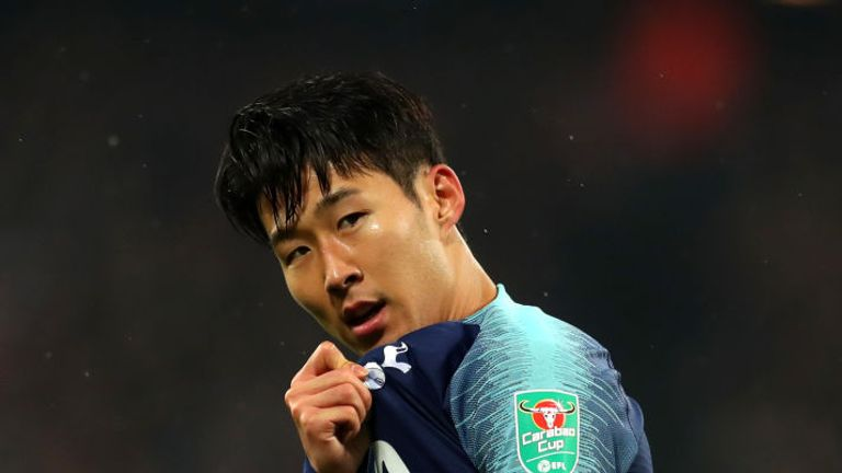 Heung-min Son celebrates during the Carabao Cup Fourth Round match between West Ham United and Tottenham Hotspur at London Stadium on October 31, 2018 in London, England.