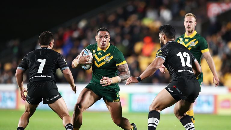 Tyson Frizell charges forward for the Kangaroos