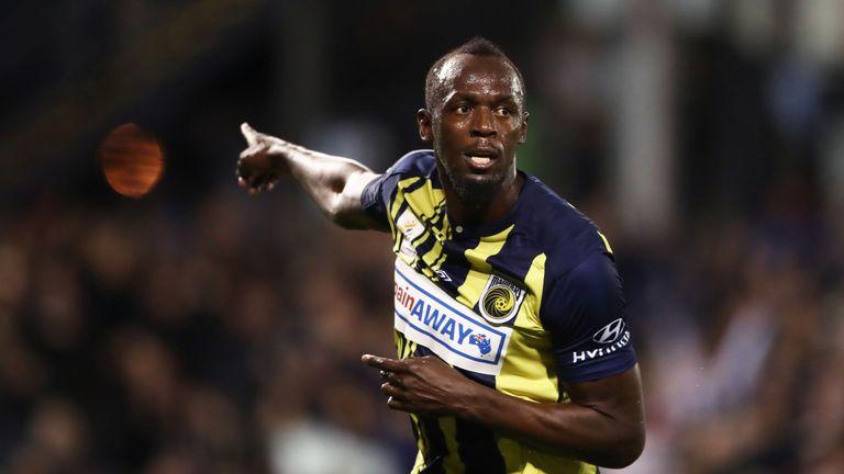 Usain Bolt celebrates his goal for Central Coast Mariners