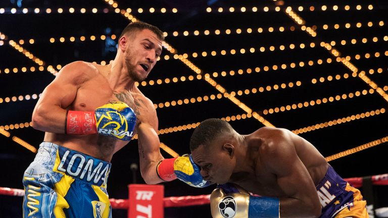 NEW YORK CITY, NEW YORK - DECEMBER 09: Vasiliy Lomachenko defends his WBO Junior Lightweight title against  Guillermo Rigondeaux at the Madison Square Garden Theater, on December 9, 2017.  (Photo by Al Bello for ESPN)
