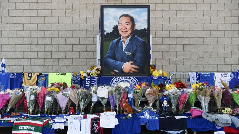 A portrait of Leicester City owner Vichai Srivaddhanaprabha was placed among floral tributes outside the King Power Stadium