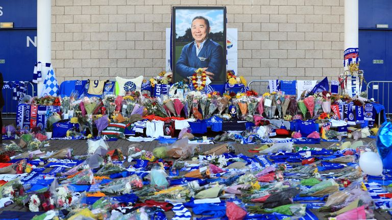 Supporters pay tribute to Vichai Srivaddhanaprabha at Leicester City Football Club.