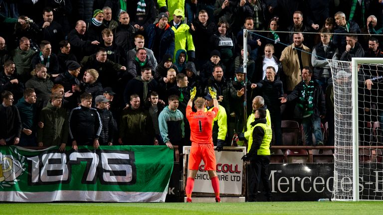 Zlamal gestures to the Hibernian fans