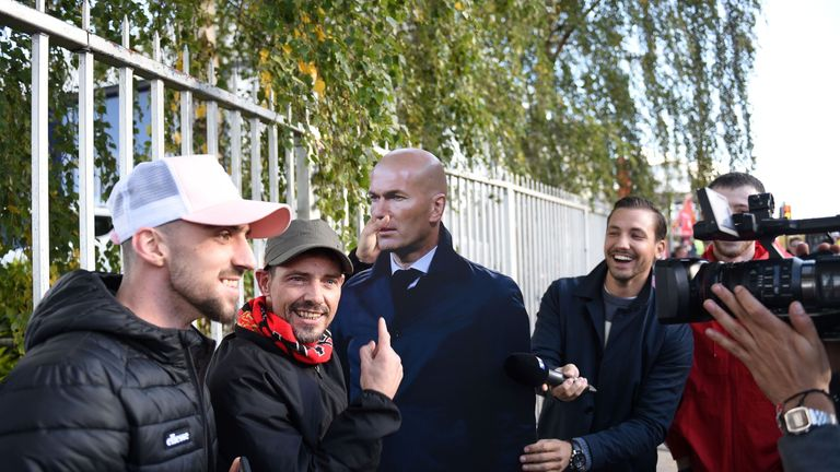 Some United fans posed with 'Zidane' near Old Trafford
