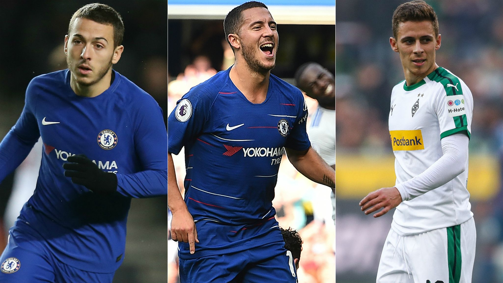 Eden Hazard being followed by brothers Thorgan and Kylian ...