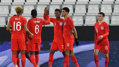 Dominic Solanke celebrates scoring his second goal for England U21 against Italy U21
