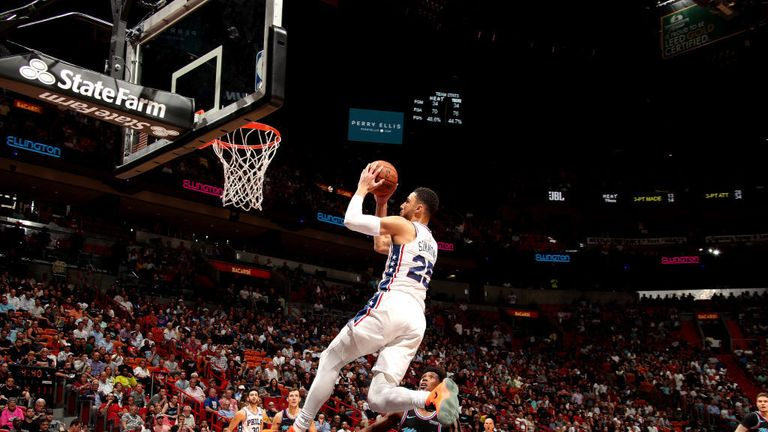 Ben Simmons #25 of the Philadelphia 76ers handles the ball against the Miami Heat on November 12, 2018 at American Airlines Arena in Miami, Florida