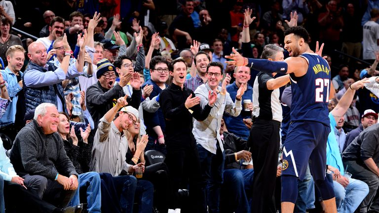 Jamal Murray celebrates during his game-winning 48-point effort against the Boston Celtics