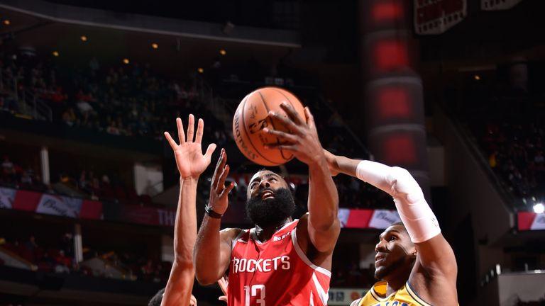 James Harden splits the Warriors defense