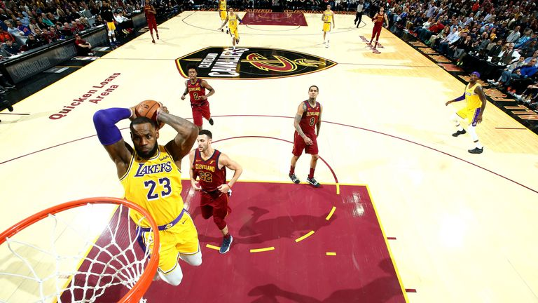 f0790ee6f96a LeBron James throw down a dunk during the Lakers  39  comeback win over his