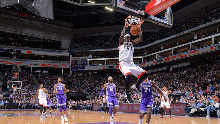 Pascal Siakam dunks on the Sacramento Kings