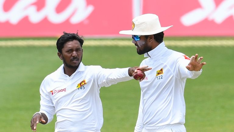 Akila Dananjaya (left) will play for Sri Lanka in the second Test