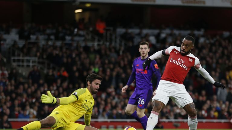 Alexandre Lacazette fails to beat Alisson