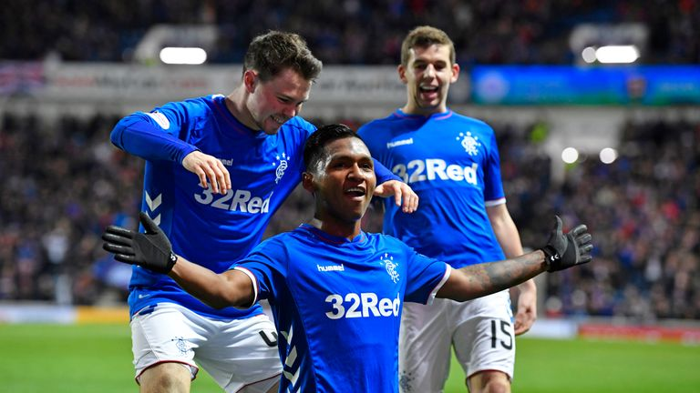 Rangers' Alfredo Morelos celebrates after scoring against Livingston