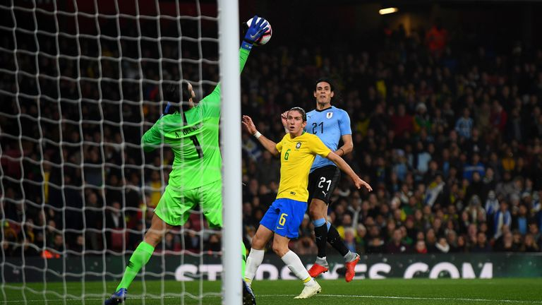 during the International Friendly between Brazil and Uruguay at Emirates Stadium on November 16, 2018 in London, England.