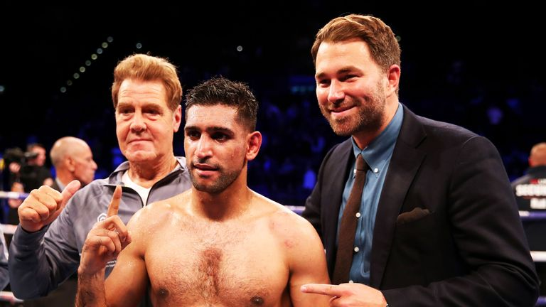 Amir Khan has one fight remaining on his deal with Eddie Hearn's Matchroom Boxing promotion company