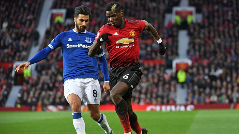 Gomes battles for the ball with Paul Pogba during Everton's 2-1 defeat to Manchester United