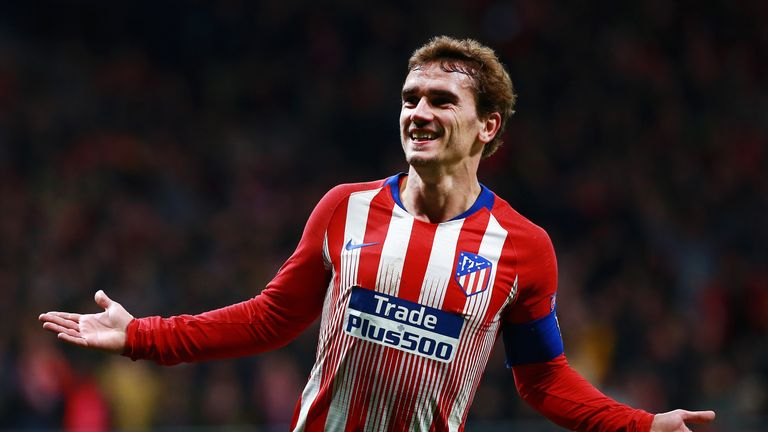 Antoine Griezmann celebrates his goal against Dortmund