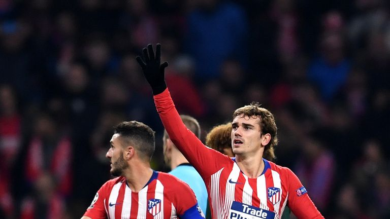 Antoine Griezmann celebrates scoring against Monaco