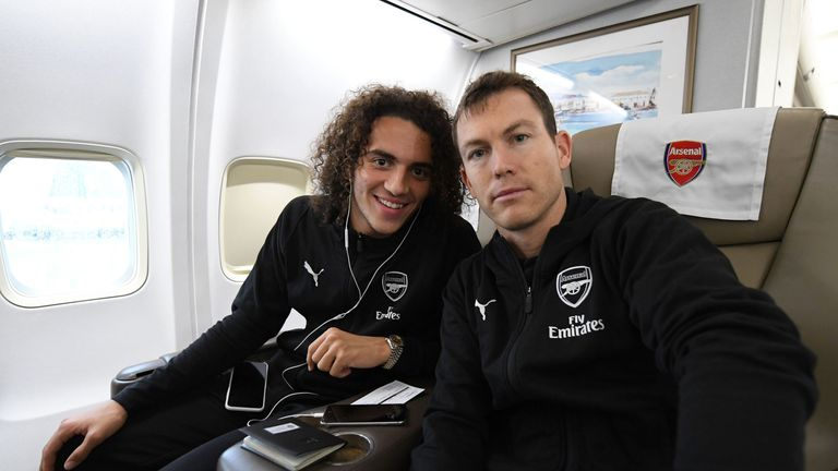 Matteo Guendouzi and Stephan Lichtstiener on the plane on their way to Kiev