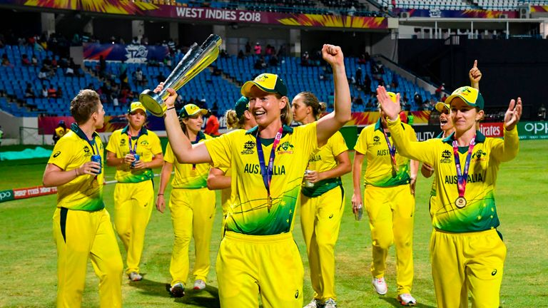Australia Women celebrate their fourth Women's World T20 title