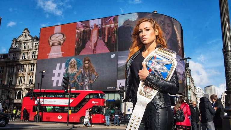 Images of Becky Lynch and Charlotte Flair were shown at Piccadilly Circus as part of WWE's UK tour