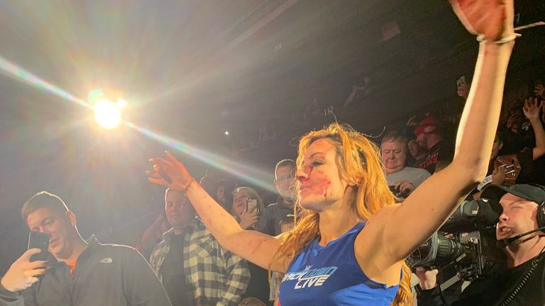 Lynch was left bloodied after a brawl between the women of SmackDown and Raw last month