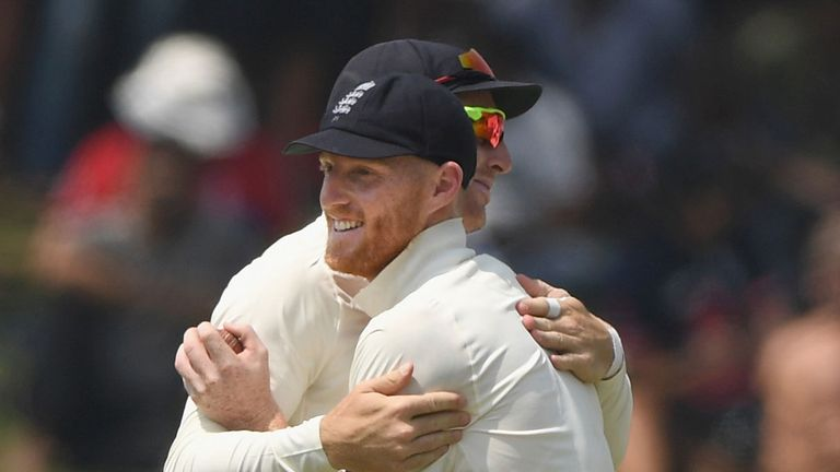 England's Ben Stokes is congratulated by Jos Buttler after running out Dimuth Karunaratne