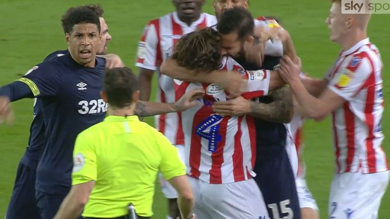 "Bradley Johnson and Joe Allen were involved in a ""biting"" incident during the Stoke v Derby match"