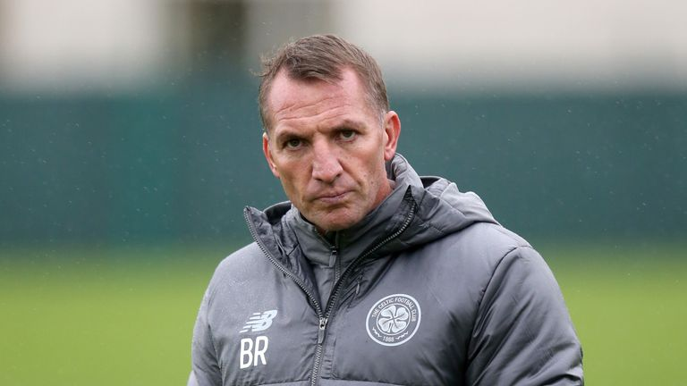 Celtic manager Brendan Rodgers during a training session at Lennoxtown prior to the club's Europa League, group B match against RB Leipzig