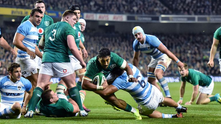 Bundee Aki goes over for a try against Argentina at the Aviva Stadium